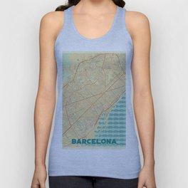 Barcelona Map Retro Unisex Tank Top
