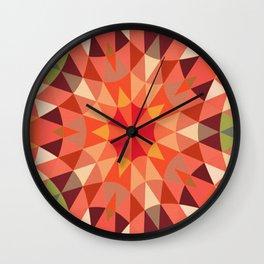 Living Coral Retro Geometry Wall Clock