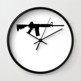 AR15 in black silhouette on white Wall Clock