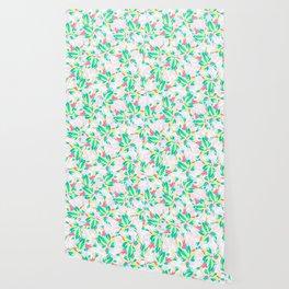 Modern pink turquoise yellow floral illustration spring summer hand drawn pattern Wallpaper