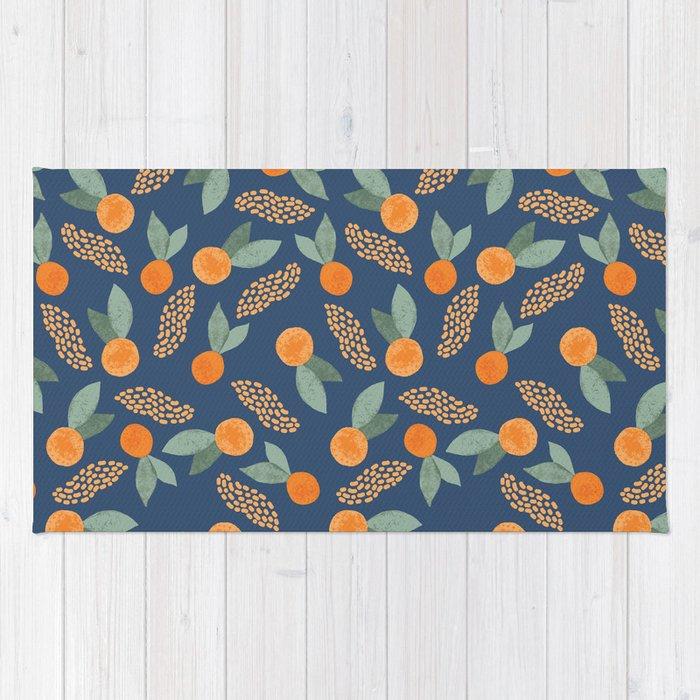 Oranges on Navy Rug