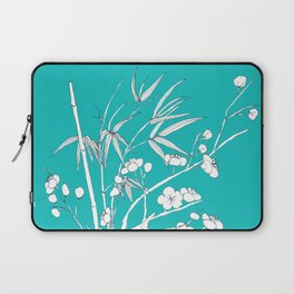 bamboo and plum flower white on blue Laptop Sleeve