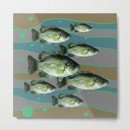 MODERN ART DECORATIVE SCHOOL OF GREEN FISH Metal Print