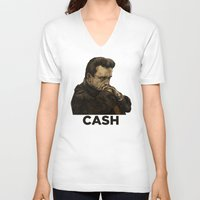 johnny cash V-neck T-shirts featuring Johnny Cash by Philipp Banken