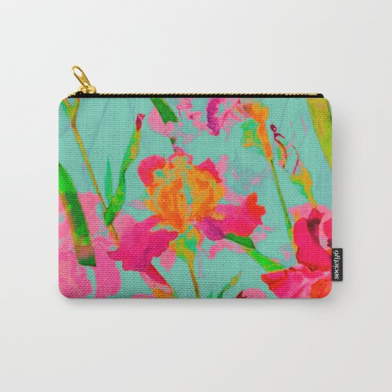 bright abstract iris on turquoise Carry-All Pouch