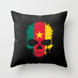 Flag of Cameroon on a Chaotic Splatter Skull Throw Pillow