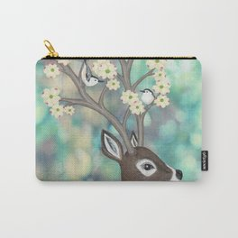 white tailed deer, white breasted nuthatches, & dogwood blossoms Carry-All Pouch