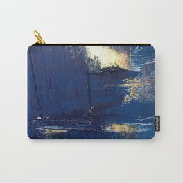 Halo [2]: a minimal, abstract mixed-media piece in blue and gold by Alyssa Hamilton Art Carry-All Pouch