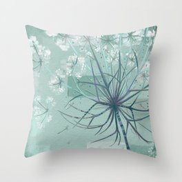 Sage Hogweed Floral Throw Pillow