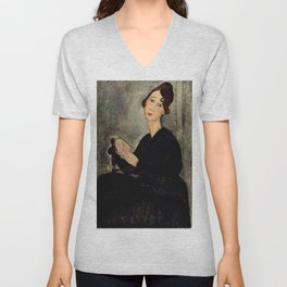"Amedeo Modigliani ""Portrait of Dedie"" Unisex V-Neck"