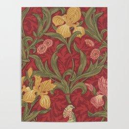 William Morris Crimson Red Irises and Poppies textile tapestry decor Poster