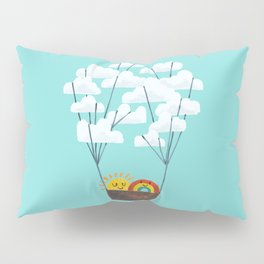 Hot cloud balloon - sun and rainbow Pillow Sham