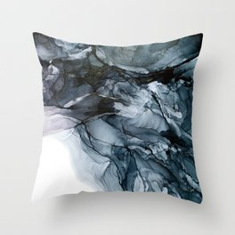 Dark Payne's Grey Flowing Abstract Painting Throw Pillow