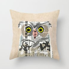 Owl Newspaper Collage Throw Pillow