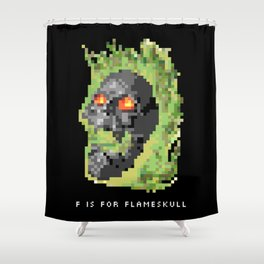 F is for Flameskull Shower Curtain