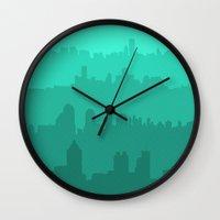 skyline Wall Clocks featuring Skyline by Zeke Tucker
