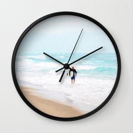 Surfer Defeat Wall Clock