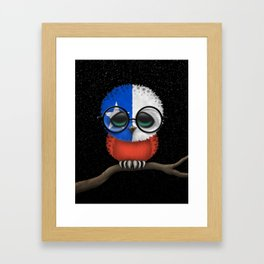 Baby Owl with Glasses and Chilean Flag Framed Art Print