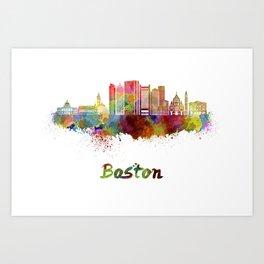 Boston skyline in watercolor Art Print