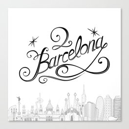 Barcelona with significant buildings Canvas Print