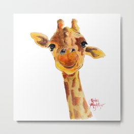 Cute Giraffe ' TOMMY ' by Shirley MacArthur Metal Print