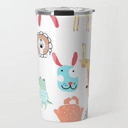 Cute Colorful Youth Print of Adorable Baby Animals Pattern Travel Mug