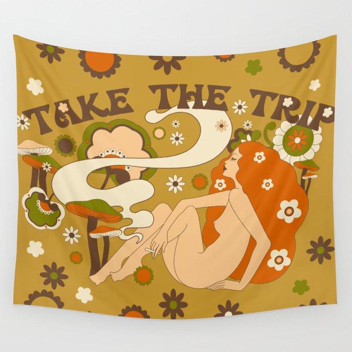 Take The Trip Orange Wall Tapestry