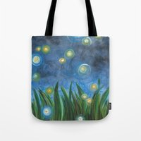 fireflies Tote Bags featuring Fireflies by Kristen Fagan