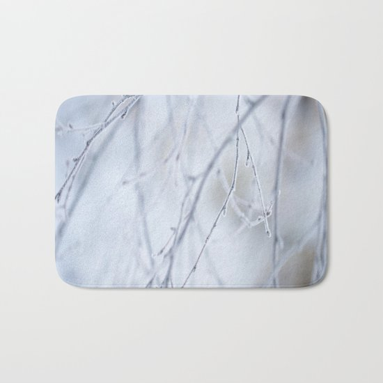 Frozen Twigs in Beautiful Winter Day Bath Mat
