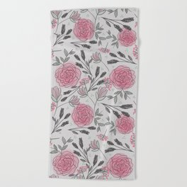 Soft and Sketchy Peonies Beach Towel