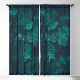 Dark emerald green ivy leaves water drops Blackout Curtain