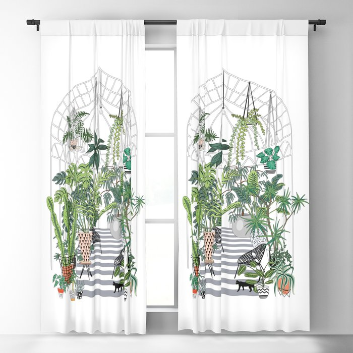 greenhouse illustration Blackout Curtain