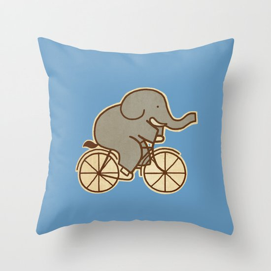 Elephant Cycle - colour option Throw Pillow