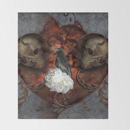 Wonderful crow with skulls Throw Blanket
