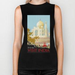 Visit India - Taj Mahal - Vintage Travel Poster Biker Tank