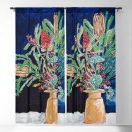 Yellow and Red Australian Wildflower Bouquet in Pottery Vase on Navy, Original Still Life Painting Blackout Curtain