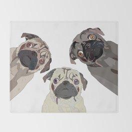 Triple Pugs Throw Blanket
