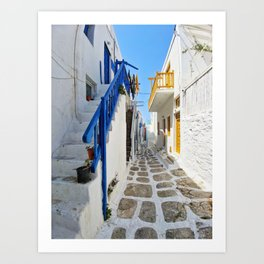 Series of stairs in Mykonos Art Print
