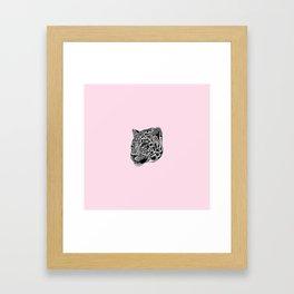 Amur leopard cub - pink - big cat Framed Art Print