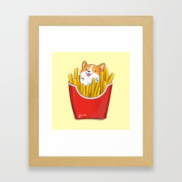 French Corgi Fries Framed Art Print