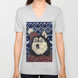 Husky in a Hat and Scarf Unisex V-Neck