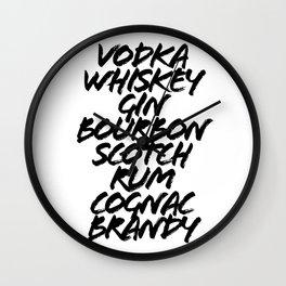 Vodka Whiskey Gin Bourbon Scotch Rum Cognac Brandy Bar Car Grunge Caps Wall Clock
