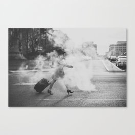 Steamy in the street Canvas Print