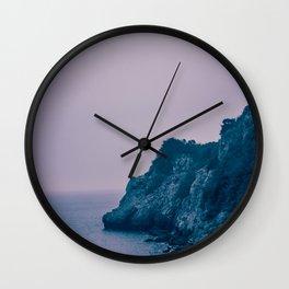 Nightfall on the Coast. Rocky Cliffs at Dusk. Nature Photography. Wall Clock