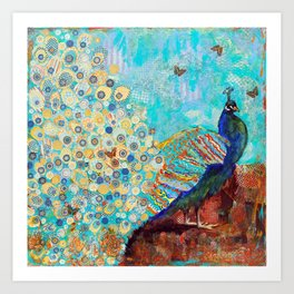 Peacock Paparazzi, peacock mixed media collage painting Art Print