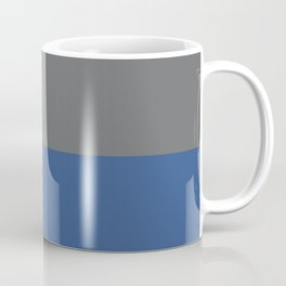 Classic Blue & Mid Tone Gray Solid Colors Horizontal Stripe Minimal Graphic Design  Coffee Mug