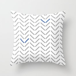 Herringbone gray white and blue pattern Throw Pillow