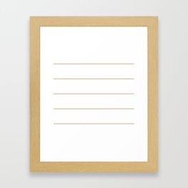 White background with beige lines Framed Art Print