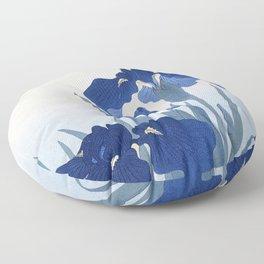 Japanese Iris Flower by  Ohara Koson Floor Pillow