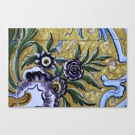 Antique floral ceramic tiles 1 Canvas Print